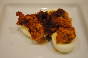 Deviled Eggs with Fried Oyster and Pork Belly